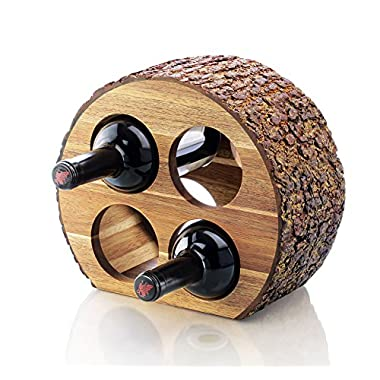 Artaste 48537 Acacia Wood Countertop Wine Rack with Natrual Bark, 4-Bottles