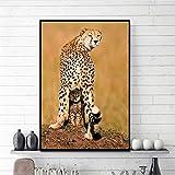 Arte Leopardo Madre Protege Oso Arte de la Pared Carteles e Impresiones de Animales Sala de Estar Moda Lienzo Pintura decoración del hogar Pintura de Pared sin Marco