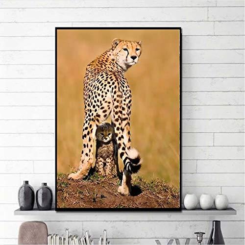 wojinbao Kein Rahmen Gepardenmutter schützt Bärenwandtierplakate und druckt stilvolle Leinwand Wohnzimmerdekoration