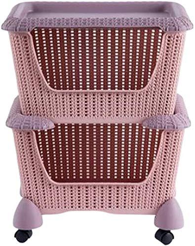 LLDKA Plastic Rattan Style Fruit Vegetable Kitchen Storage Rack Veg And General Use Standing Shelves,Pink,2 floors