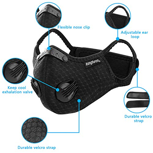 4 Sets Sports Cycling Masks with Activated Carbon Filter, Cycling Mask with 8 Breathing Valve and 16 Soft Foam Padding for Walking Running Cycling