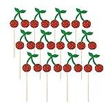 PRETYZOOM 12 Piezas Toppers de Cupcake de Fruta Toppers de Pastel de Cereza Selecciones de Pastel Decoración de Cupcake de Brillo para Decoraciones de Fiesta de Cumpleaños de Tutti Frutti