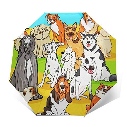 Paraguas Plegable Automático Impermeable Personajes de Perros sabuesos, Paraguas De Viaje Compacto a Prueba De Viento, Folding Umbrella, Dosel Reforzado, Mango Ergonómico