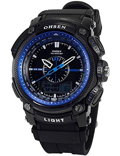 OHSEN Sportuhren LCD Dual Core Herren Damen Sport Datum Tag Rot Stoppuhr Schwarz Gummi Armbanduhr OHS051