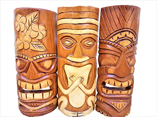 """Set of (3) Wooden Handcarved Natural Style 12"""" Tall Tiki Masks Tropical Wall Decor!"""