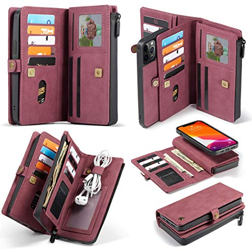 For el nuevo iPhone 12 caja del teléfono móvil a prueba de humedad proMax, mate toque PU de cuero, caja de cuero protectora de la cremallera cartera de negocios multifuncional con 17 ranuras for tarje