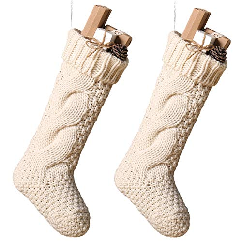 Toes Home 18 Inch Knitted Christmas Stockings, Pack 2 Xmas Gift Bags Cream