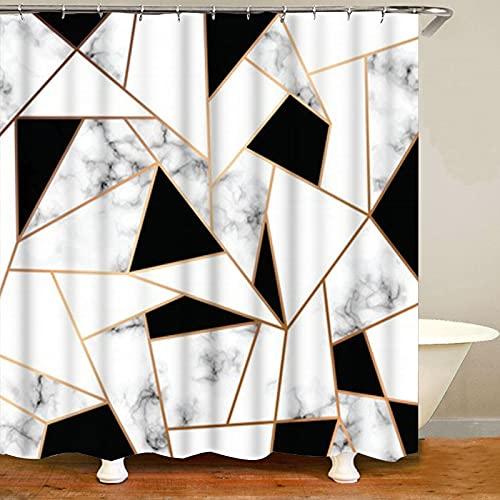 XCBN Roséguld rosa och grå marmor duschdraperi geometriskt hexagon duschdraperi vattentätt och mögelbeständigt skiljevägg A2 180 x 200 cm