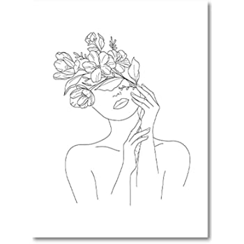 Amazon Com Art Canvas Painting Picture Nordic Naked Woman Head Of Flowers Print Single Line Sketch Female Body Poster Line Home Decor No Frame Posters Prints