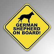 JMM Industries German Shepard On Board Vinyl Decal Sticker Car Window Bumper 2-Pack 4-Inches by 4-Inches Premium Quality U...