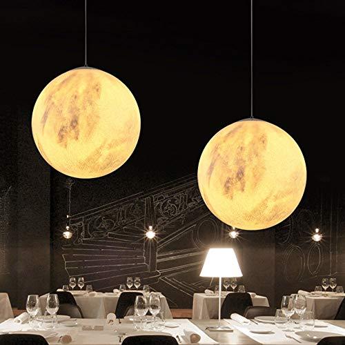 luz de techo LCSD Lámpara De Araña De Una Sola Cabeza Creativa Y Creativa Impresión En 3D Luz De Luna Lámpara De Luz De Luna Restaurante Dormitorio Luz De Techo De Bola Moderna (Size : D20cm)