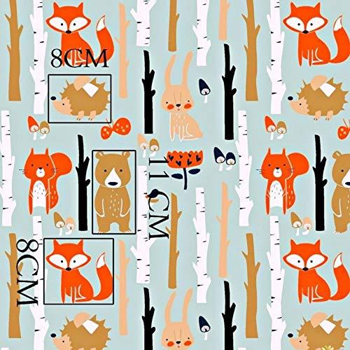 Fuchs Hase Wald 100% Baumwolle Baumwollstoff Kinderstoff Meterware Handwerken Nähen Stoff Tiermotiv 100x160cm 1 Meter (Fuchs Hase Wald)