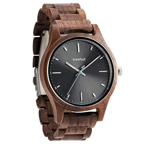 Treehut Walnut Brown Wooden Grey Men's Watch – Tri-Fold Clasp Mens Watches – Stainless S.
