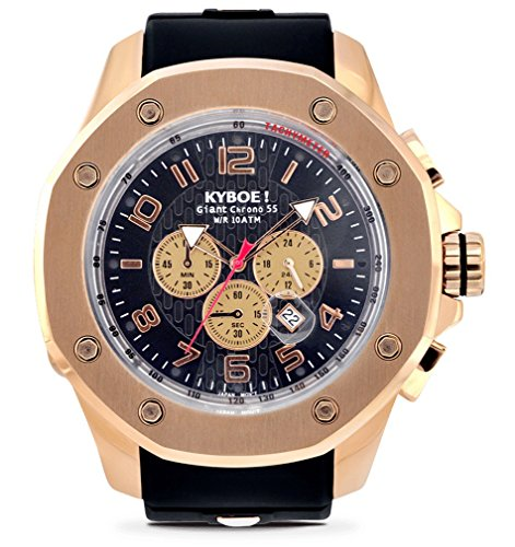 Kyboe. Puerto Oro Rosa KPR. 55–001.15–Reloj cronógrafo para Hombre