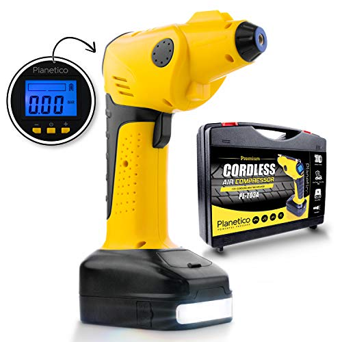 Cordless Air Compressor Tire Inflator - Powerful Portable Pump | Auto Preset-Stop | Rechargeable AC and DC | Digital LCD Pressure Gauge | Power Bank | Flashlight | 150 PSI | 12V - 10A | 55 L/Min