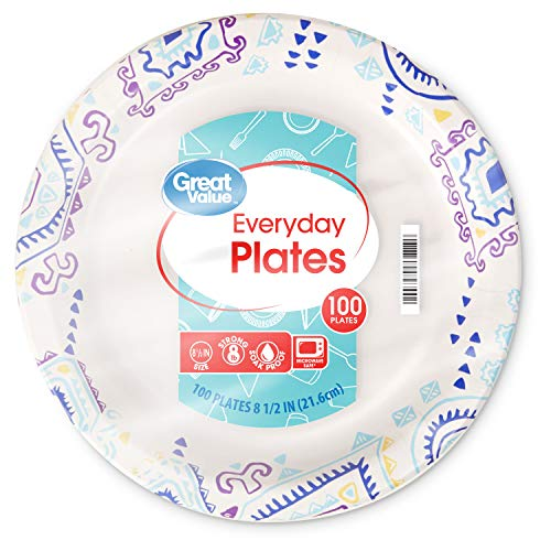 Great Value Value 8 5/8' Heavy Duty Premium Party Paper Plates, 100 ct