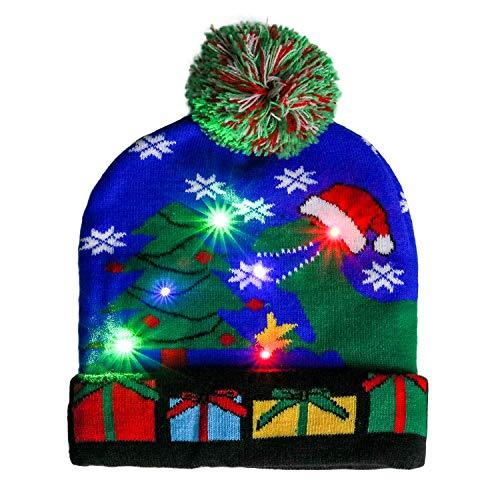 Kapmore - Gorro de Navidad con luces LED de colores para niños, unisex, invierno, nieve, Navidad, día festivo, regalo