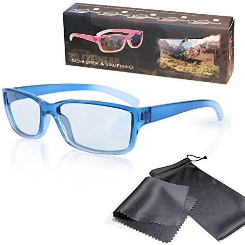SJ3D Passive 3D Brille für Kinder – Blau / Transparent - Polfilterbrille zirkular polarisiert - Für RealD 3D Kino & TV: LG Cinema 3D Philips Easy 3D Telefunken Toshiba 3D Natural Vizio 3D und 3DTVs von SONY Grundig Panasonic Hisense CMX uvm. - Inkl. Mikrofaser Brillenbeutel und Putztuch