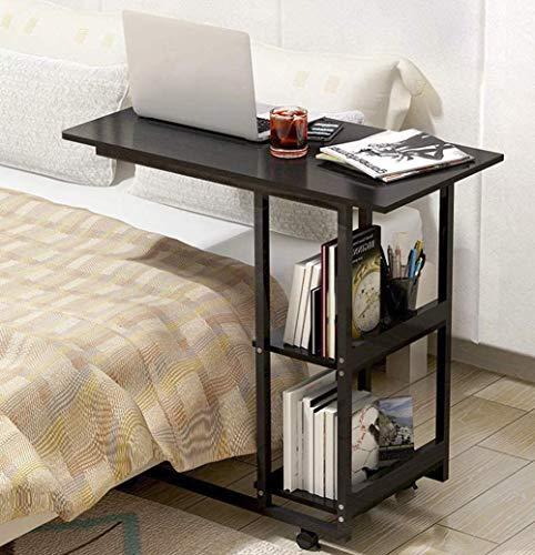 Mesa de ordenador portátil portátil portátil portátil mesa de escritorio mesa de cama mesa de cuidado mesa de noche para ̈1r cama y sofá, con ruedas 69 cm, color negro.