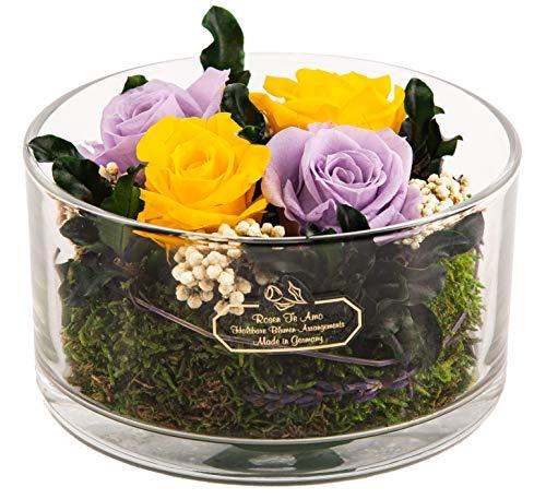 Rosen-Te-Amo Origineller Blumenstrauß aus 4 konservierten, echten Rosen in rund Vase; Infinity Blumen im Glas: mit Liebe handgefertigt aus 100{b19c6c2e135aac2931d9dda8280dc82367a2ec92f57b381d0892c23097b3fe96} echten Deko-Pflanzen und Bindegrün
