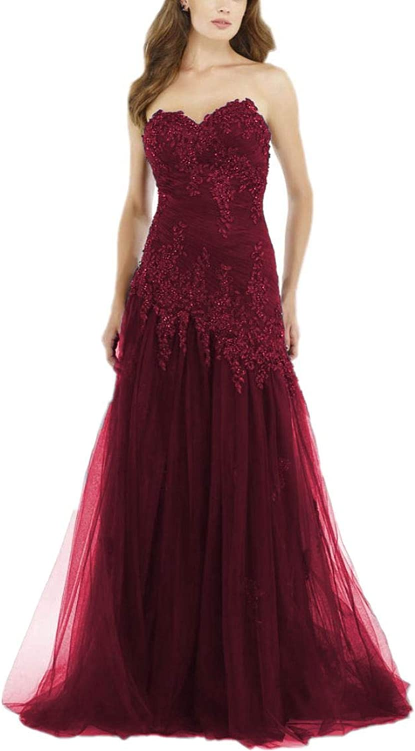 Yisha Bello Women's Lace Applique Mother of The Bride Dress Sweetheart Beaded Long Tulle Evening Formal Party Dress with Shawl 24w Burgundy