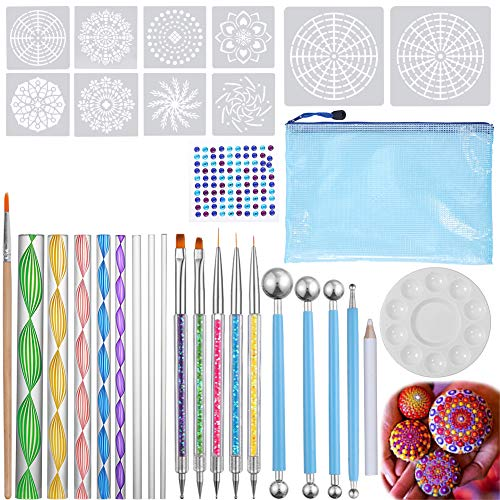 Mandala Dotting Tools-TORUBIA 32PCS Mandala Dotting Tools Set for Painting Rocks Drafting, Kids' Crafts, Nail Art, Decoration,etc. with a Waterproof Bag for Storage