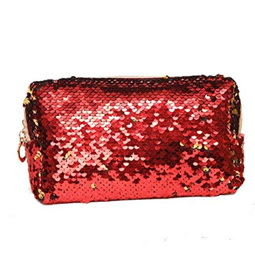 Sirène mignon fourre-tout Sac de shopping pour les femmes, Porte-monnaie Sac MakeUp sac cosmétique, école Sac à dos pour étudiants litière filles enfants rouge
