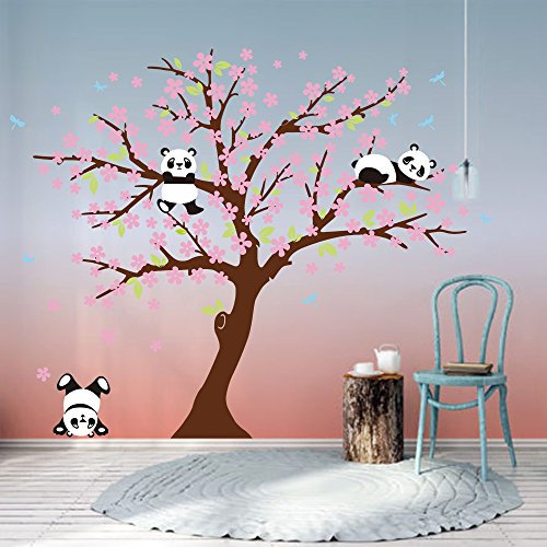 Bdecoll Decorativo para Pared Vinilos Arbol Decoraciones Del Arte con flores de rosa-2.2*1.8m Decoración habitación bebé/niños (Marron)