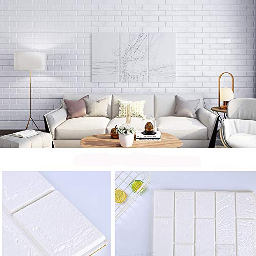 3D Wallpaper Brick Wall Panels Peel and Stick Adhesive PE Foam Wall Tiles 30.13 Sq. feet Interior Decor White 5 Pieces, 31.50'' L x 27.56'' W x 0.32in