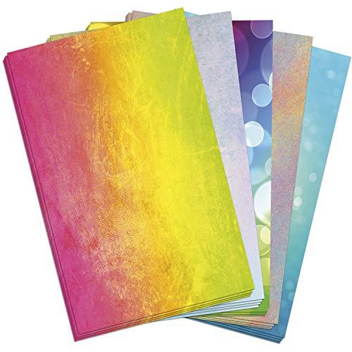 50 Blatt Briefpapier (A4) | Bunter Mix (5 x 10 Blatt) | Motivpapier | edles Design Papier | beidseitig bedruckt | Bastelpapier | 90 g/m²