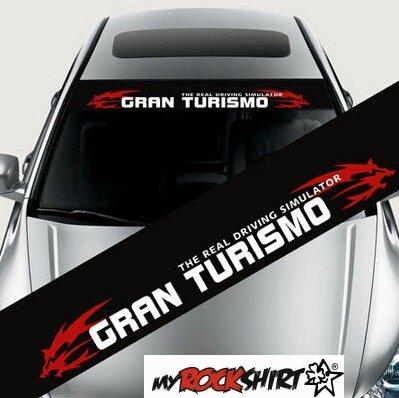 myrockshirt Gran Turismo Aufkleber + Blendstreifen 130 cm Aufkleber für Scheibe, Lack, Hochleistungsfolie, UV& Waschanlagenfest`+ BO