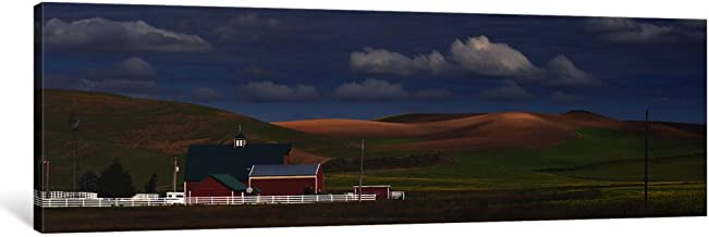 """iCanvasART 1 Piece Barn and fields, Palouse, Colfax, Washington State, USA Canvas Print by Panoramic Images, 36"""" x 12""""/0.75"""" Deep"""