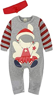 lcky Boys and Girls Christmas Clothes Baby Christmas Set Santa Climbing Suit