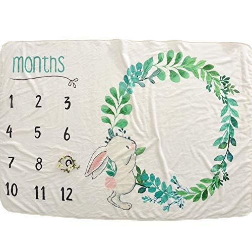FZ FUTURE Nouveau née Couverture de Props de Photographie, Baby Props imprimé Coton Mensuel Milestone Wrap Swaddle Couvertures, Cadeau de Shower de bébé, 102X152cm,B