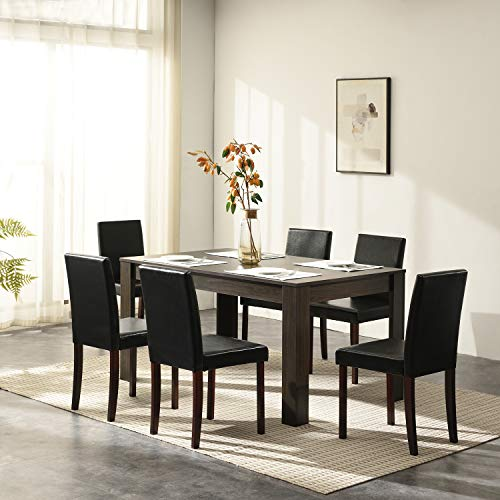 Cherry Tree Furniture 7-Piece Dining Room Set 6-Seater 150 X 90 CM Dining Table + 6 Chairs, Walnut Colour Table & Black PU Leather Seats