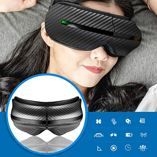 Cinlinso Smile 2020 Eye Massager, Portable Eye Massage with Rechargeable Foldable Temple Massager and with Heating Air Pressure Music Vibration