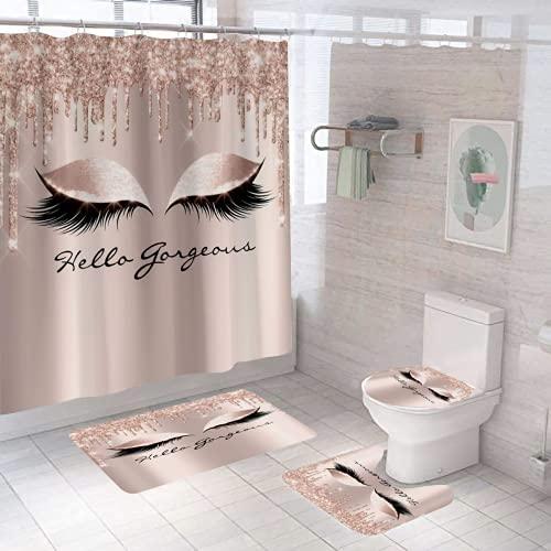 Yddsky Shower Curtain 4 Pieces/Set, Female Eyelash Makeup Rose Gold Shower Curtain kit, with Non-Slip Carpet, Non-Slip mat, Toilet lid and 12 Hooks, Charming Eyes, Bathroom Decoration