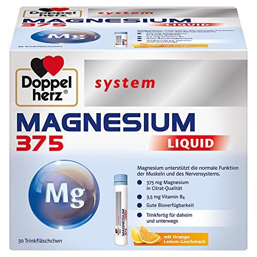 Doppelherz system MAGNESIUM 375 LIQUID – Magnesium als Beitrag für die normale Funktion der Muskeln und des Nervensystems – 30 Trinkfläschchen