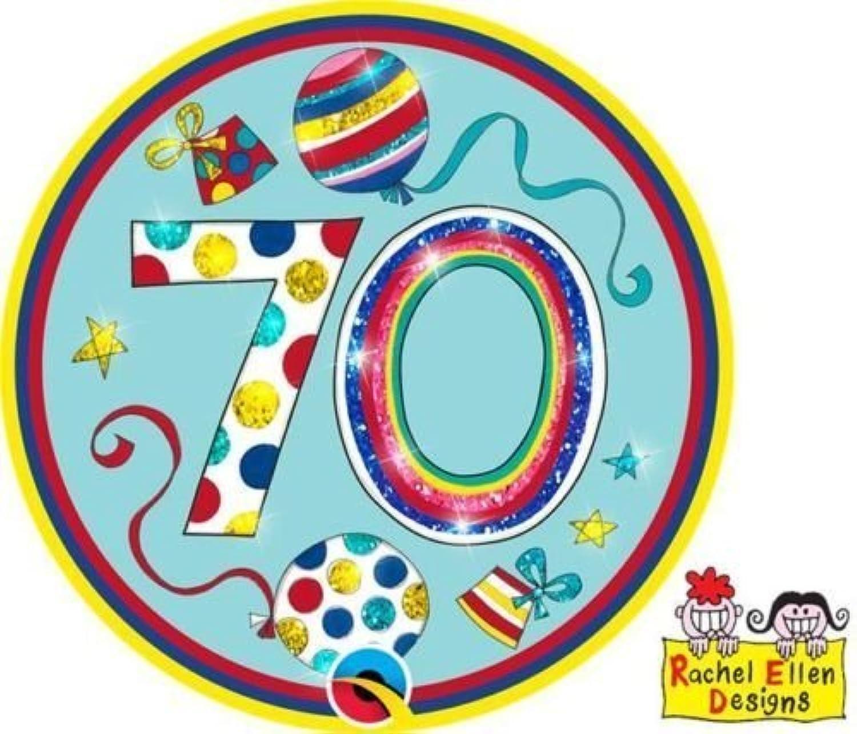 Age 70 70th Birthday Polka Dots & Stripes Big Birthday Badge - Rachel Ellen Designed by Rachel Ellen