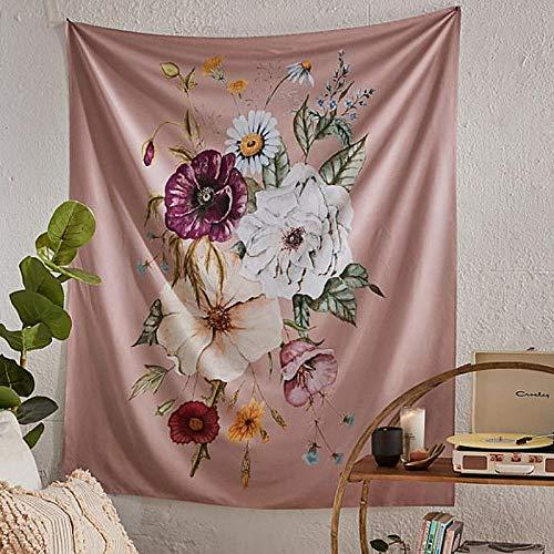 Tapiz floral indio para colgar en la pared, tapices para colgar en la pared con flores rosadas retro, tela con estampado de plantas bohemias para acampar Traval 150x200CM