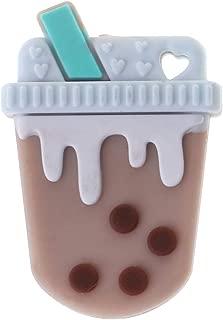 Biuuu シリコーンビーズdiy歯が生える赤ちゃんのおしゃぶりミルキーティー面白いかわいいカラフルなオーラルケア噛むかみそり新生児安全な食品グレードの工芸品ペンダントネックレス看護製品 (コーヒー)