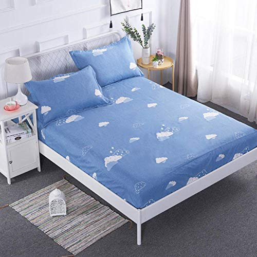 N / A Fitted Sheet Small Double,Waterproof bed sheet Wetting bed cover, bed cover, dust cover, 1.8 mattress protection cover, 5 sides, 2 * 2.2 bed package-M_150cmx190cm+25cm