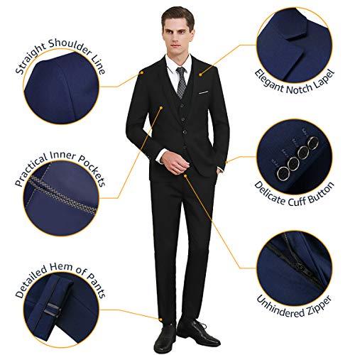 MY'S Men's 3 Piece Suit Blazer Slim Fit One Button Notch Lapel Dress Business Wedding Party Jacket Vest Pants & Tie Set Deep Blue, S, 5'7-5'10, 140-160lbs