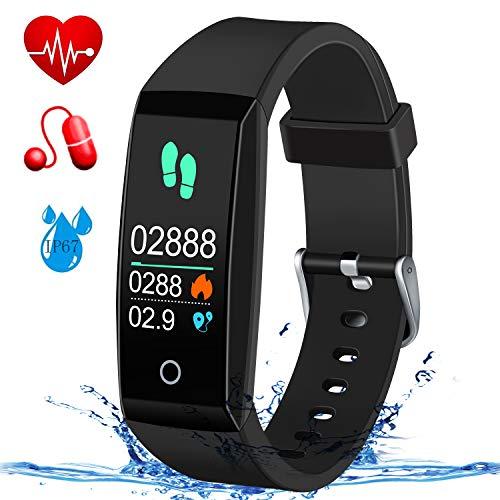 MSDJK Fitness Armband mit Pulsmesser Blutdruckmessgerät,Farbdisplay Smart Activity Tracker,Wasserdicht IP67 Fitness Tracker Schrittzähler Uhr Vibrationsalarm Anruf SMS mit iOS&Android Handy(Schwarz)