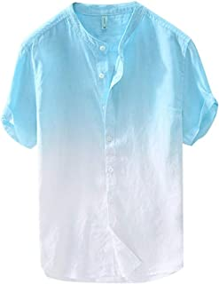 Forthery Men Summer Basic Collar Standard Fit Gradient Short Sleeve Linen Shirts Cool and Thin Breathable Tops