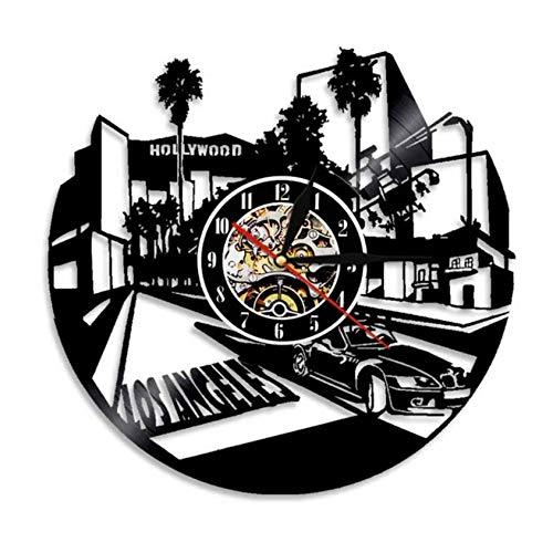 Wanduhr aus Vinyl Los Angeles City Wanduhr Los Angeles Architektur Skyline Wandkunst Schallplatte Uhr USA Reise Hollywood Einweihungsparty Geschenk 12inch Xi521