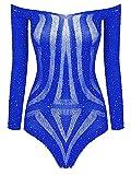 ACSUSS Women Sexy Off Shoulder Bodysuit Shiny Sequined Mesh Bodystockings Babydoll Underwear Blue OneSize