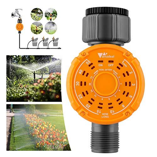 amzdeal Bewässerungscomputer Digitaler Wasserzeitschaltuhr, Wasserdicht Garten Bewässerungsuhr für Blumenbewässerung Rasenbewässerung