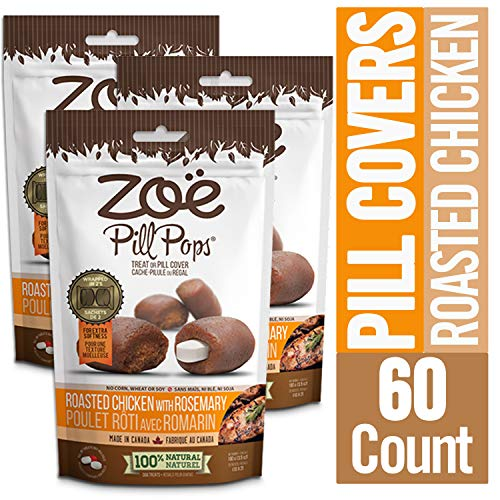Zoe Pill Pops for Pets Healthy All Natural Pill Pockets Dog Treats for Giving Medication Roasted Chicken with Rosemary 60 Count