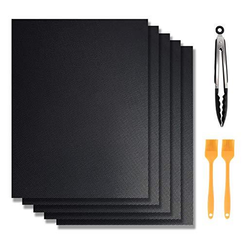Majalis BBQ Grillmatten 5er Set + 1x9 Grillzange + 2x8 Grillbürste, Wiederverwendbare Premium Grill- und Backmatte mit Teflon Antihaftbeschichtung für Grill und Backofen,40 x 33 cm